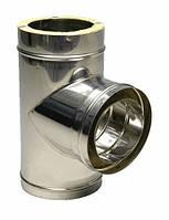 Тройник 87° Ф130/200 н/оц с термоизоляцией из нержавеющей стали в оцинкованном кожухе , фото 1