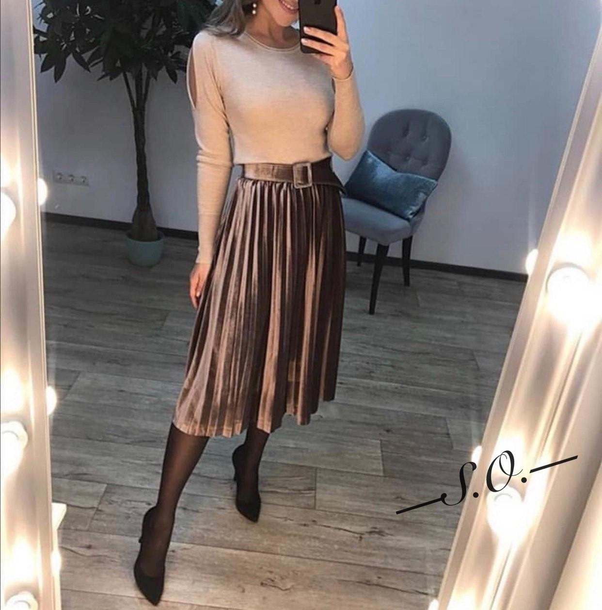 Нарядная бархатная юбка Китай 40-44 (в расцветках)