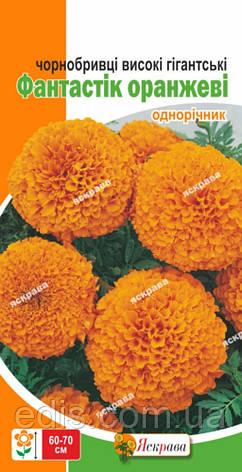 Чорнобривці високі гігантські Фантастік помаранчеві 0,3 г, насіння Яскрава, фото 2