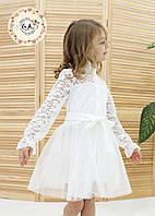 Платья нарядное с гипюровыми вставками, с пояском