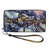 Женский кошелек с ярким принтом на молнии, с ручкой размер 18,5 х 10 см, фото 6