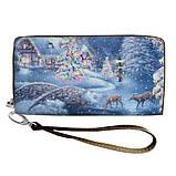 Женский кошелек с ярким принтом на молнии, с ручкой размер 18,5 х 10 см, фото 8