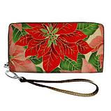 Женский кошелек с ярким принтом на молнии, с ручкой размер 18,5 х 10 см, фото 2