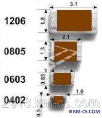 Конденсатор керамический, чип C-0805 1.0uF 10% 25V X7R // 2222 910 15663 (Yageo)