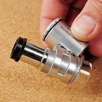 Карманный 60-кратный микроскоп с подсветкой и УФ лупа + чехол