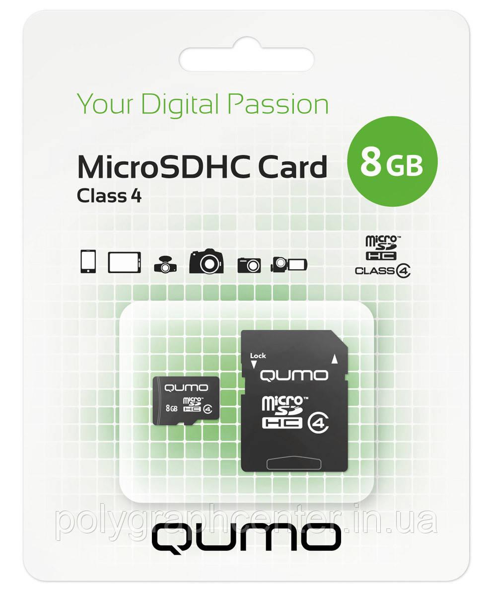 Карта памяти QUMO microSDHC Class 4 8GB