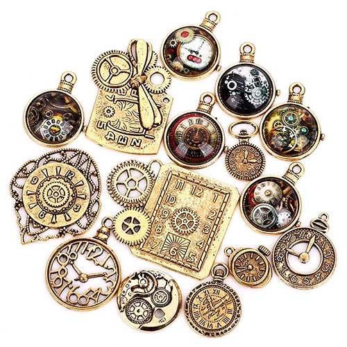 Мини-подвески шармы часы стимпанк Premium набор под латунь, 15 шт