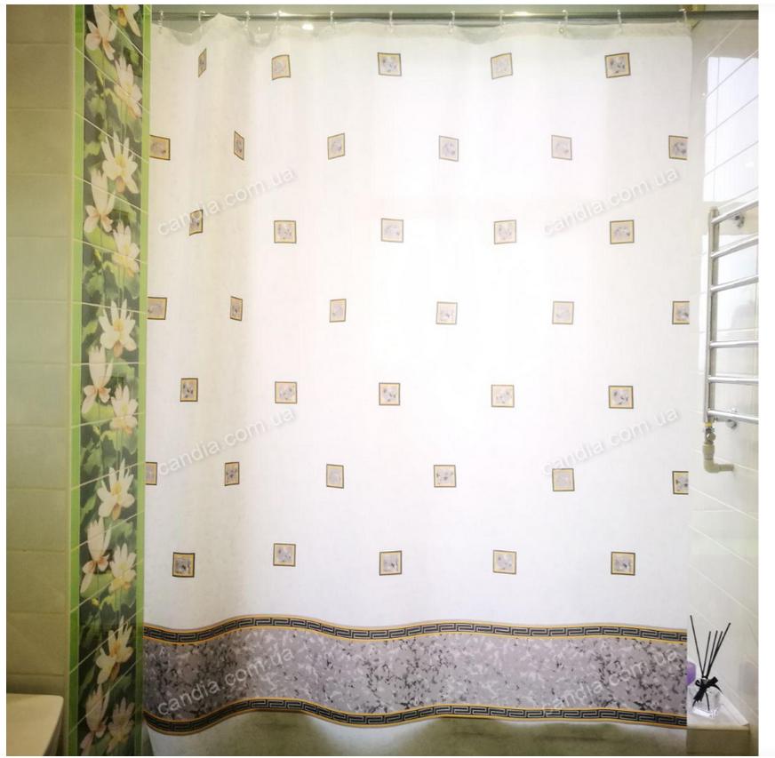 Шторка для ванной с кольцами Miranda EMERALD GREY (Турция) 180х200 см