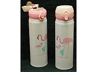 Термокружка с поилкой Flamingo 500 мл T144-18,  оригинальный термос Flamingo 500 мл T144-18