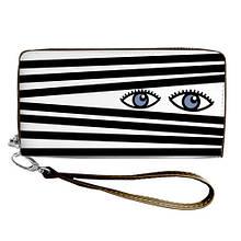 Женский кошелек с принтом на молнии и ручкой размер 18,5 х 10 см Глазки