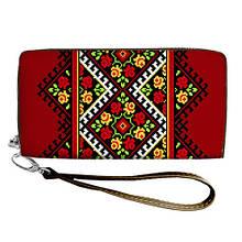 Женский кошелек с принтом на молнии и ручкой размер 18,5 х 10 см Украинский узор 007