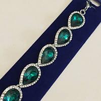 """Вечерний браслет """"Венеция"""", зелений цвет в серебристой основе."""