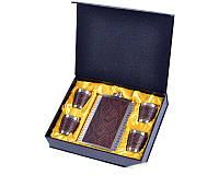 Подарочный набор Металлическая Фляга с кожаными вставками дизайна Питон