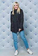 Демисезонная женская парка, демисезонная длинная куртка, женская куртка черного цвета