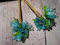 """Палочки для создания прически """"С цветами"""" голубой"""