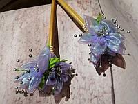 """Палочки для создания прически """"С цветами"""" фиолетово-сиреневый"""