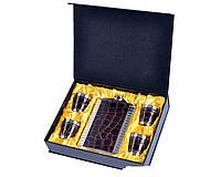 Подарочный набор Металлическая Фляга с кожаными лакированными вставками дизайна Змеи