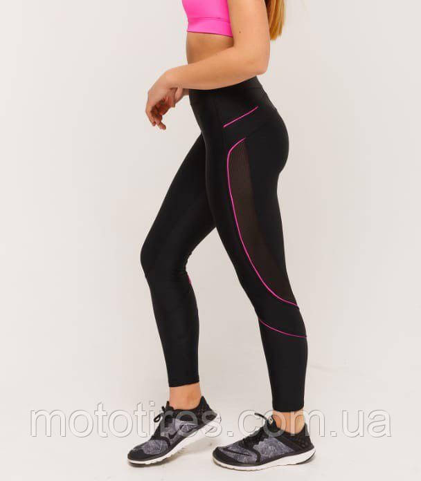 Лосины для спорта и фитнеса с розовым кантом и сеткой