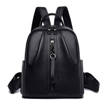 Жіночий шкіряний рюкзак міський. Модний рюкзак жіночий. Рюкзак з натуральної шкіри (чорний)