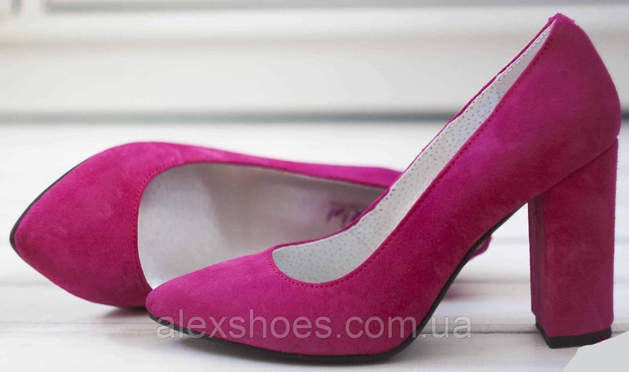 Туфли женские классика на высоком каблуке из натуральной замши от производителя модель НИ35-4ОК6