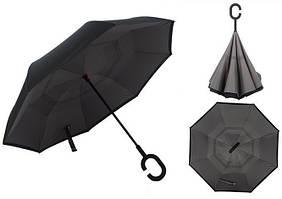 Вітрозахисний парасолька Up-Brella антизонт Парасолька зворотного складання (Чорний)