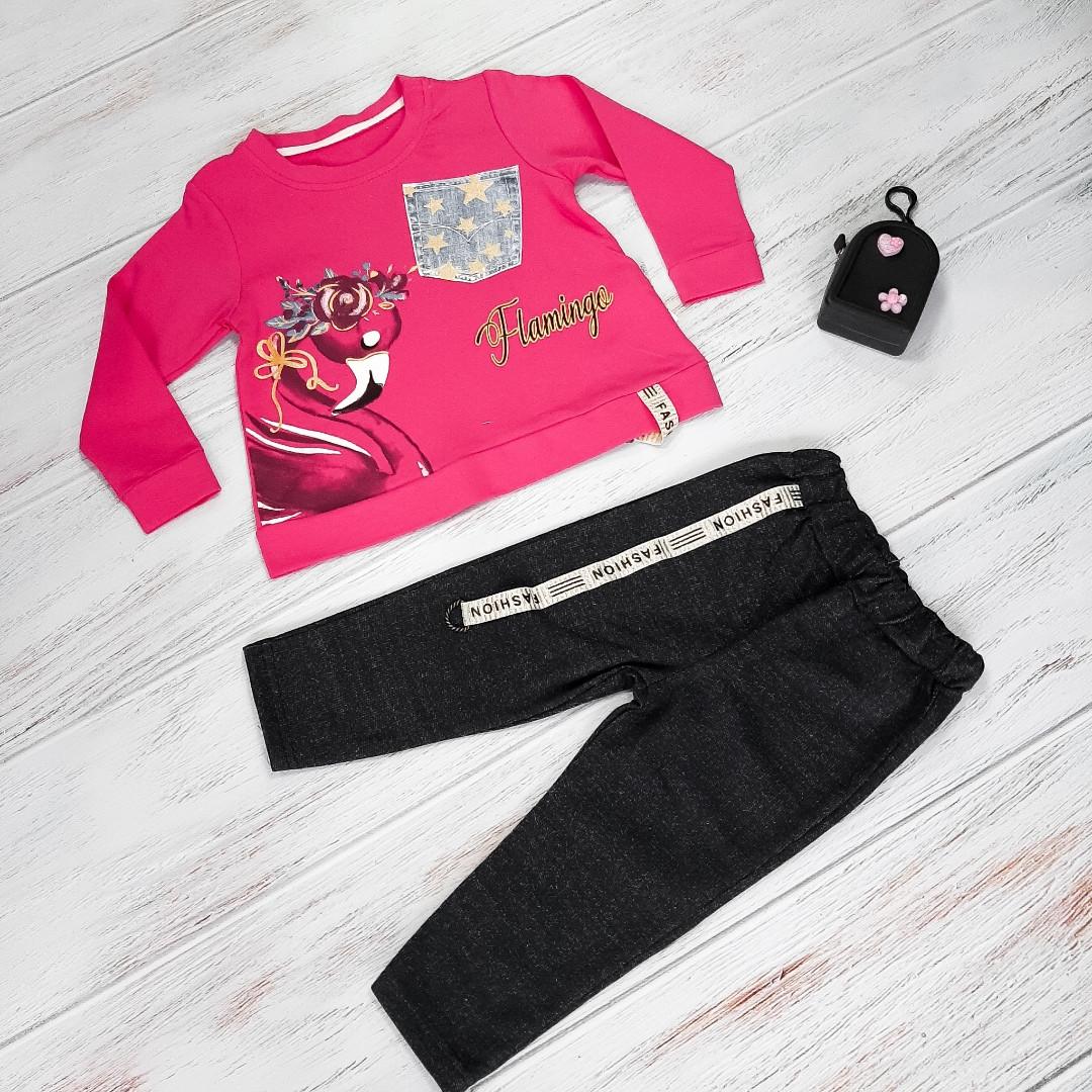 Спортивный костюм для девочек с лебедем в ярко-розовом цвете 2-5 лет