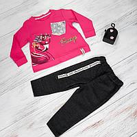 Спортивный костюм для девочек с лебедем в ярко-розовом цвете 2-5 лет, фото 1