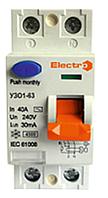 Устройство защитного отключения УЗО 1-63 2P 16А 4,5kA AC 30mA NEW модель Electro