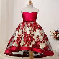 Детское нарядное платье на выпуск, на день рождение, на праздник. Платье бордового цвета!