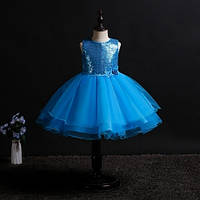 Детское нарядное платье с паетками на выпуск, на день рождение, на праздник, голубой цвет рр.100-150