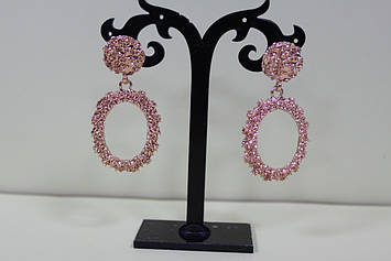 Роскошные серьги овальные для вечеринки розовое золото