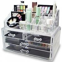 Органайзер Cosmetic storage box для косметики 2-х уровневый с 4 ящиками Прозрачный (272)