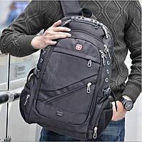 Рюкзак мужской SwissGear Wenger 8810 с отделением для ноутбука AUX и USB выходами Черный+дождевик