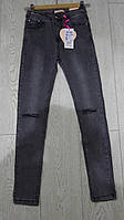 Черные джинсы для девочек с дырками подростковые GRACE,разм 134-164 см