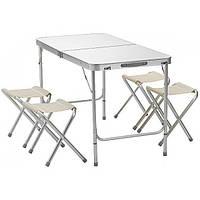 Раскладной стол для пикника 120х60х70 см со стульями 2 режима высоты