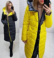 Куртка пуховик двусторонняя с капюшоном арт. 1007 черный + желтый / желто черного цвета