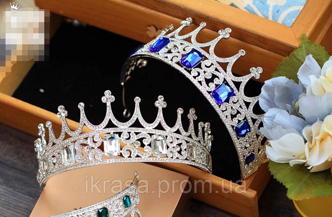 Корона півколом з класичними чи синіми кристалами на вибір