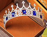 Корона півколом з класичними чи синіми кристалами на вибір, фото 7