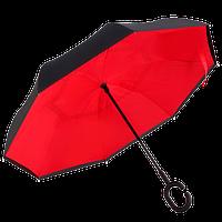 Жіночий парасольку навпаки Up-Brella зворотного складання Антиветер в чохлі Чорний з червоним, фото 1