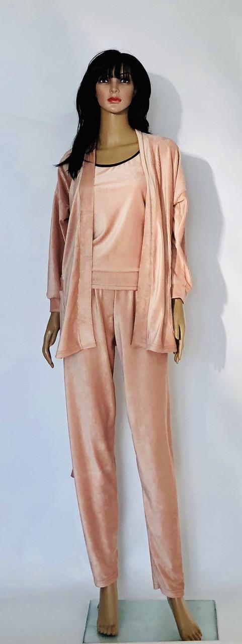 Велюровый комплект пижама, халат топ и брюки