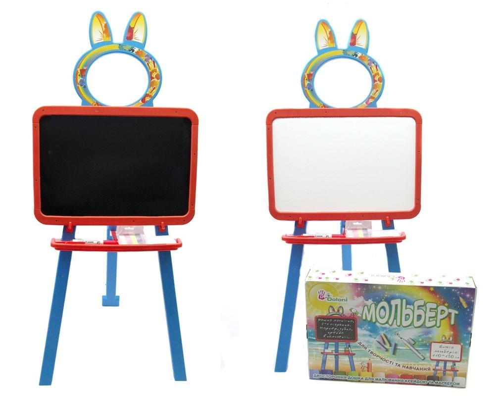 Мольберт для Рисования детский магнитный двухсторонний пластиковый Doloni