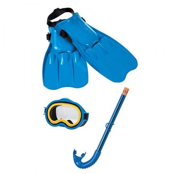 Комплект для дайвинга маска трубка ласты Набор для плавания ныряния Intex Master Class Swim Голубой