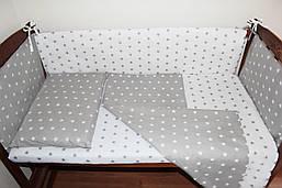 Постільний комплект ручної роботи з бортиками в дитяче ліжечко