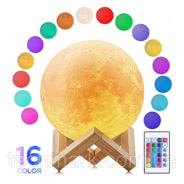 3D Світильник Нічник Місяць розміром 15 см з пультом і 16 кольорів світіння