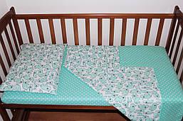 Постільний комплект ручної роботи в дитячу ліжечко Бірюзовий