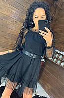 Чорне плаття з сіткою зверху, фото 1