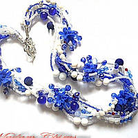 Сине- белые бусы с агатом и васильками, фото 1
