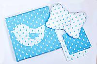 Постельное белье для новорожденных в коляску BeniLo одеялко, 2 пелёночки, подушечка Голубой