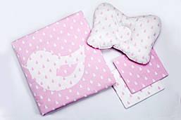 Набор для новорожденного в коляску BeniLo одеялко, 2 пеленочки, подушечка Розовый