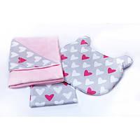 Набор для новорожденного в коляску и кроватку BeniLo одеяло простынка подушка Розовый с серым